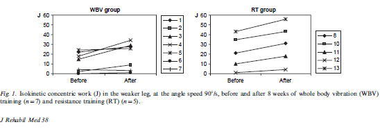 Fig. 1. Isokinetic concentric work (J) in the weaker leg, at the angle speed 908/s, before and after 8 weeks of whole body vibration (WBV) training (n/7) and resistance training (RT) (n/5).