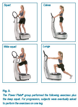 Fig. 3. The Power Plate® group performed the following exercises plus the deep squat. For progression, subjects were eventually asked to perform the exercises on one leg.