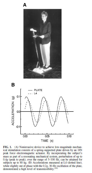 FIG. 1. (A) Noninvasive device to achieve low-magnitude mechanical stimulation consists of a spring-supported plate driven by an 18N peak force electromagnetic actuator. By incorporating the subject's mass as part of a resonating mechanical system, perturbation of up to 0.4g (peak to peak), over the range of 5–100 Hz, can be attained for subjects up to 80 kg. (B) Accelerations measured at L4 (dotted line), while slightly out of phase with the 0.2g, 30-Hz oscillation of the plate, demonstrated a high level of transmissibility.(22)