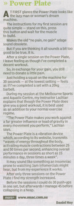 Heral Sun Article about Power Plate - original form scanned